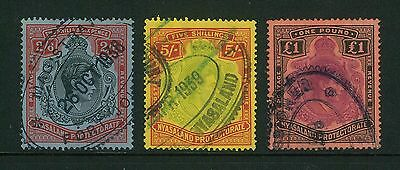 FISCAL - Nyasaland - 1938 KGVI 2/6, 5/- and £1 fiscally used