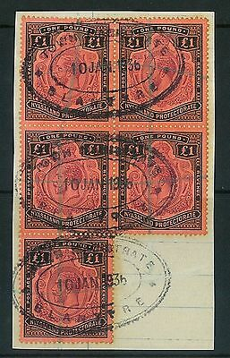 Nyasaland - 1913 KGV block of 5 on piece - fiscally used