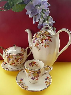 "Vintage Grindley ""Blackberry"" Coffee Set For Two,Coffee Pot, Sugar Bowl, 2 Duos"