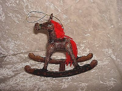 Rocking Horse Christmas Ornament Wood