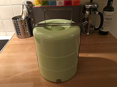 Vintage Retro 3 Tier Tiffin Lunch Picnic Box Approx 15 years old but BRAND NEW