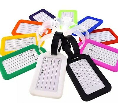 4 x holiday luggage baggage tags label name address id suitcases bag travel new