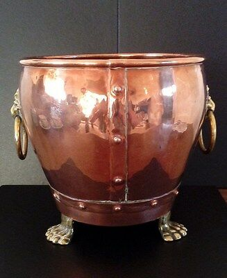 Antique Copper Planter With Brass Lion Paw Feet