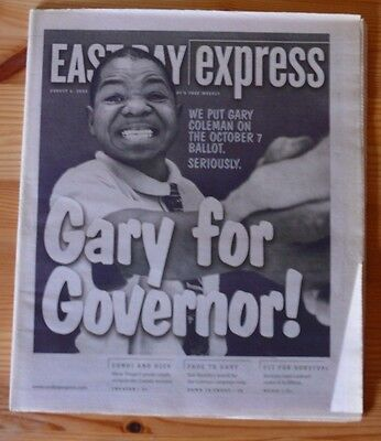 EAST BAY EXPRESS August 6, 2003  GARY COLEMAN FOR GOVERNOR!  Schwarzenegger