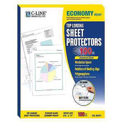 100 C-Line Clear Sheet Page Protectors 8.5x11, Poly / Plastic, Top Load #LM