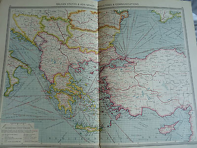 1900/1908 antique map BALKAN STATES & ASIA MINOR INDUSTRIES AND COMMUNICATIONS