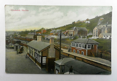 Old Vintage Postcard Goodwick Railway Station Gwr Poster Carriages Signal Box