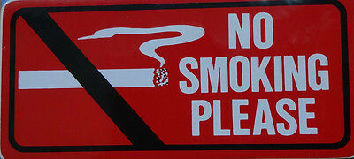 2 x 70x 152mm NO SMOKING PLEASE - Vehicle/Taxi/Van/Car Health & Safety Stickers