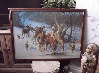 Beautiful Framed Native American Indian Jigsaw Picture