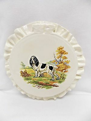 English Springer Spaniel Dog Hunt Fired Decal Hoop Wall Decor Ceramic Handmade