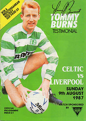 Celtic v Liverpool Tommy Burns Testimonial programme 9 August 1987