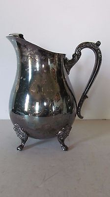 Vintage Silver Olate Water Pitcher With Ice Catcher Lip