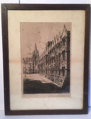 Antique Framed Etching By William Monk