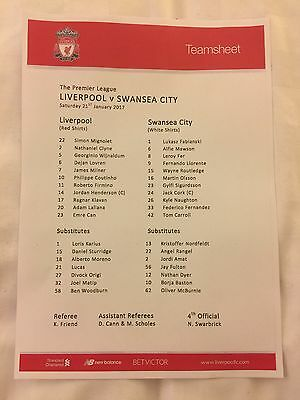 Liverpool FC v Swansea City *Team Sheet ONLY* 21 January 2017 Programme NOT Incl