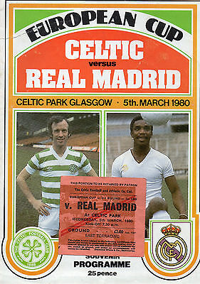 Celtic v Real Madrid European Cup programme + ticket 5 march 1980