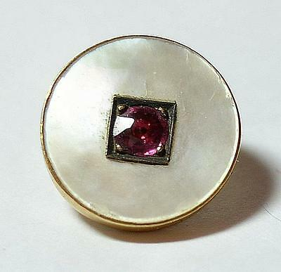 Rare 18k Solid Gold Mother of Pearl and Ruby Sewing Button 13 mm