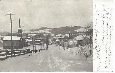 North Montpelier, Vermont, Real Photo Postmarked 1907, Winter Photo,church, Road