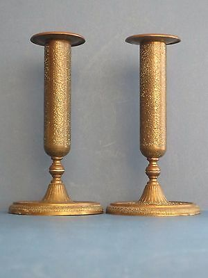 Pair of English Art Deco Kinco Brass Ware Candle Sticks Holders Rare Chased Vtg