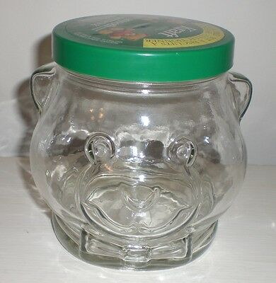 1989 KRAFT BEAR Smooth Peanut Butter COLLECTIBLE GLASS COOKIE JAR LID & LABEL