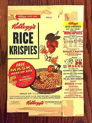 Kellogg's Rice Krispies Cereal Box 1950's very early Snap Crackle Pop RARE