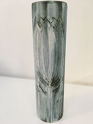 Beautiful Carn Pottery Cornwall 17cm tall vase cobalt blue