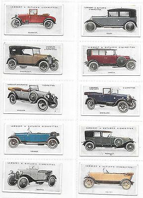 Full set 25 LAMBERT & BUTLER Motor Car Cigarette Cards 2nd Series 1923