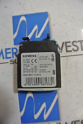 New Surplus Siemens Auxiliary Contact 3RH1921-1CA10 10A 240V