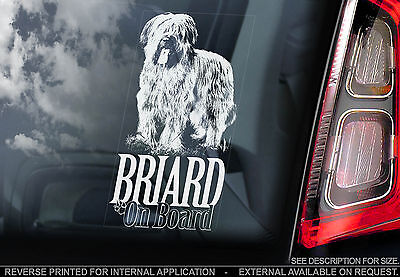 Briard - Car Window Sticker - Berger de Brie Dog on Board Sign Art Gift