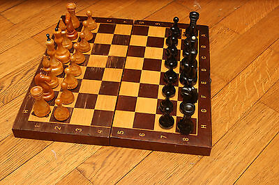 RARE Russian  Soviet  USSR wooden chess set and rare board with Olympic bear