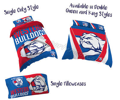 Western Bulldogs 2017 AFL Quilt Cover Doona Single Double Queen King Pillowcase