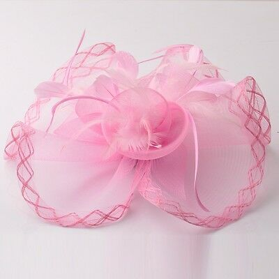 Gift lady wedding bridal fascinator large hat feather pink hair clip accessory
