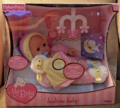 Fisher Price My Baby Babytime Baby Doll Lights & Sounds Glows Lullabies Rare!!