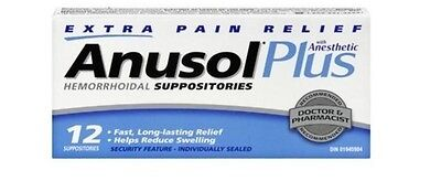 Anusol Plus Extra Pain Relief Anesthetic Hermorrhoid 12 Suppositories
