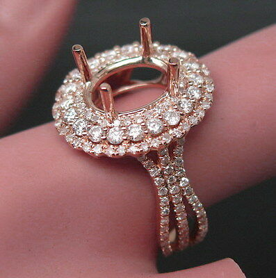 Oval Cut 7x9mm Solid 14K Rose Gold Natural Diamond Semi Mount Jewelry Ring