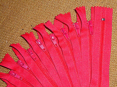 "10 x Bright Pink 5"" / 13cm Closed End Dress or Craft Zips ( RG/5PK )"
