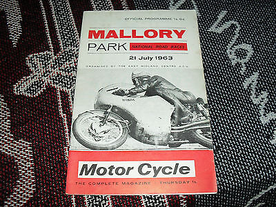 1963 Mallory Park Programme 21/7/63 - National Motorcycle Road Races
