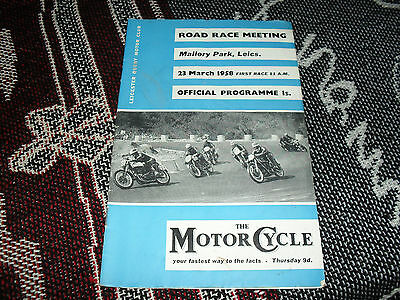 1958 Mallory Park Programme 23/3/58 - Motorcycle Road Races