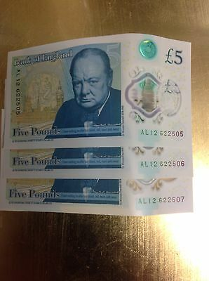 New £5 Note, X3 Consecutive Serial Numbers, AL