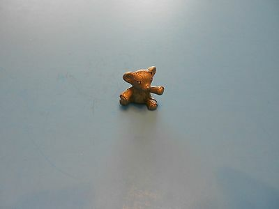 TINY PEWTER TEDDY BEAR Figurine 7/8 inches