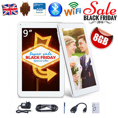 """9""""Inch Allwinner Quad Core Bluetooth WIFI Android 4.4 Tablet PC Dual Camera 8GB"""