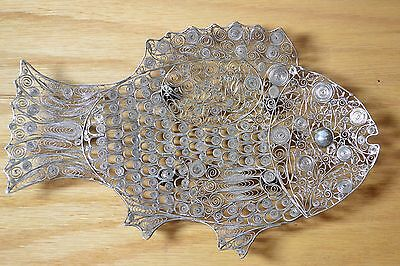 Mid-Century Fine Sterling Silver Filigree Fish Tray Dish