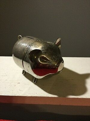 Vintage Piggy Coin Bank Silver Plated Pig Comes Apart Removing Screw