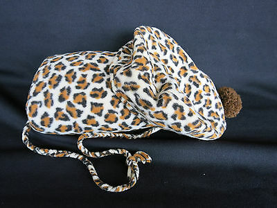 Child's Little Girl Leopard Jungle Print Hat Beret and Muff with Pom Pom
