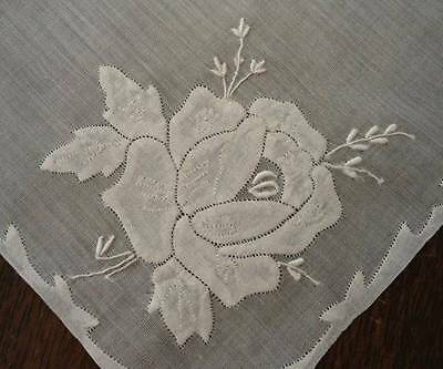 Vintage Madeira Linen Wedding Hanky Applique Embroidered Roses Bridal White