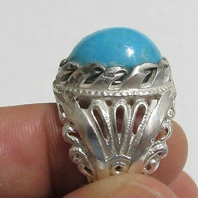Islamic Natural Turquoise  Sterling Silver 925 men ring فيروز
