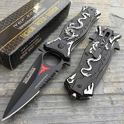 Tac Force Spring Assisted Collection Series Grey Dragon Aluminum Handle Knife