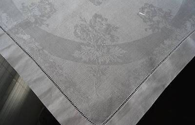 10 Vintage Irish Linen  Double Damask Napkins Ribbons Flowers Wide Hemstitch