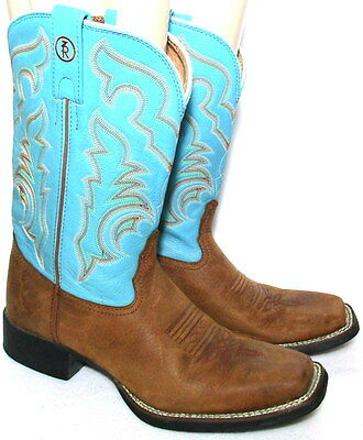 TONY LAMA 7R Turquoise/Brown Western BOOTS MENS 9 B