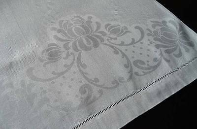 Large Vintage Antique Linen Double Damask Guest Bath Hand Towel Retro Dots