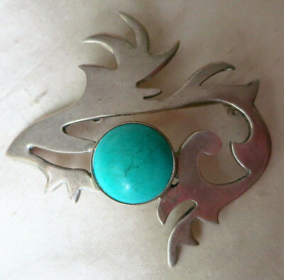 Vintage Sterling Abstract Taxco Brooch W Turquoise Stone 2 1/8 By 2 1/16 Inches
